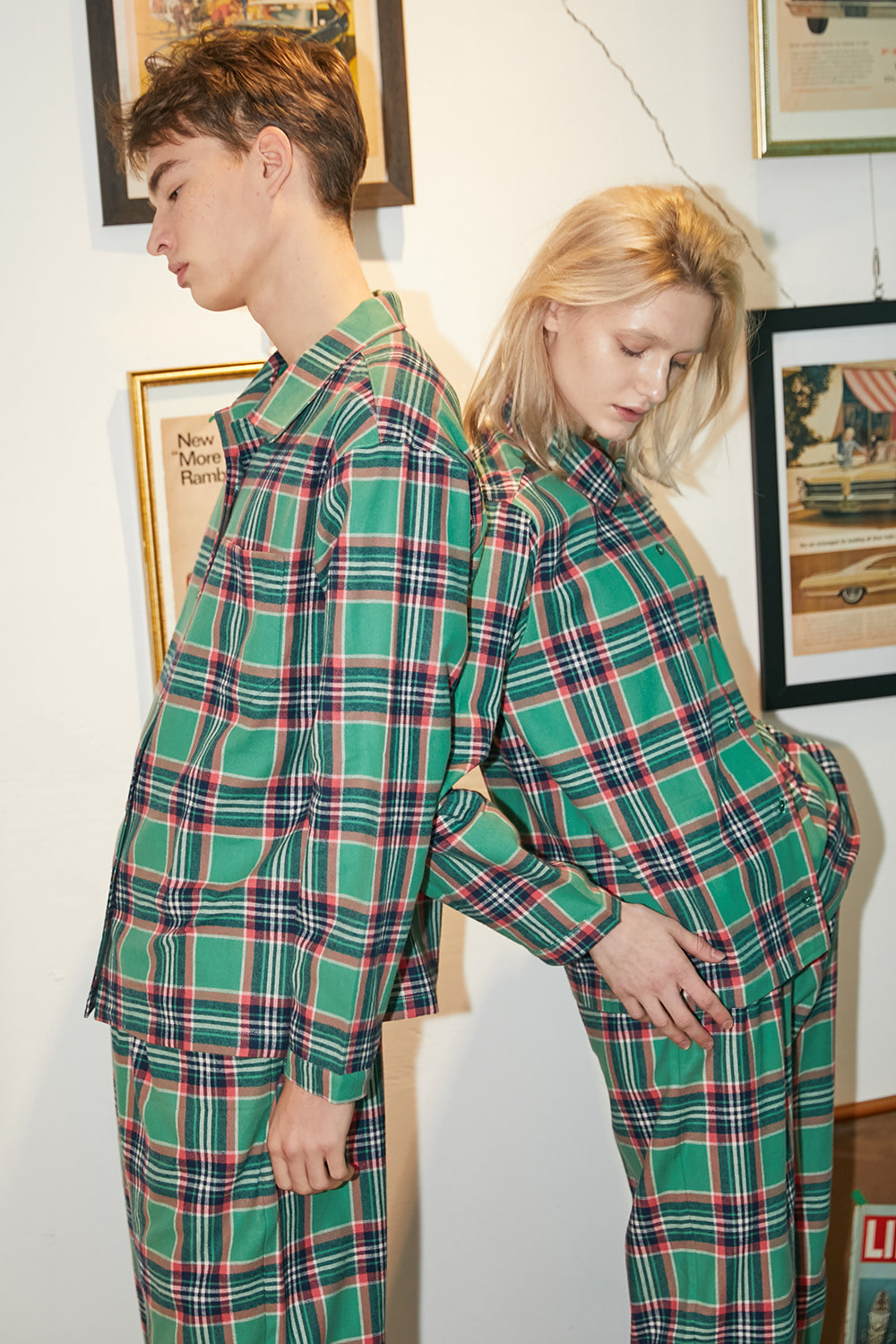 [발렌타인 데이]CHECK PAJAMA COUPLE SET, Green