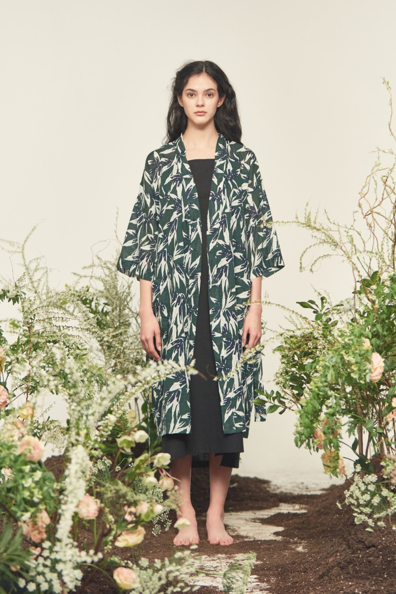 3/4 SLEEVED LINEN ROBE_green(women)