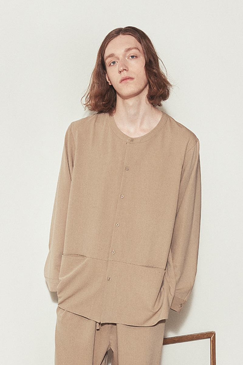 COZY H-NECK PAJAMA SHIRTS_Beige