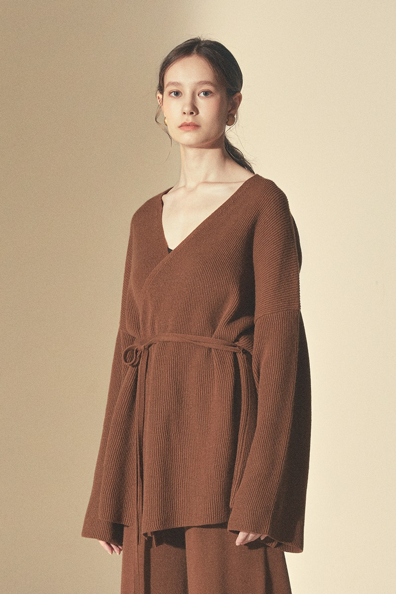 LOUNGE KNIT SHORT ROBE_Brown(woman)