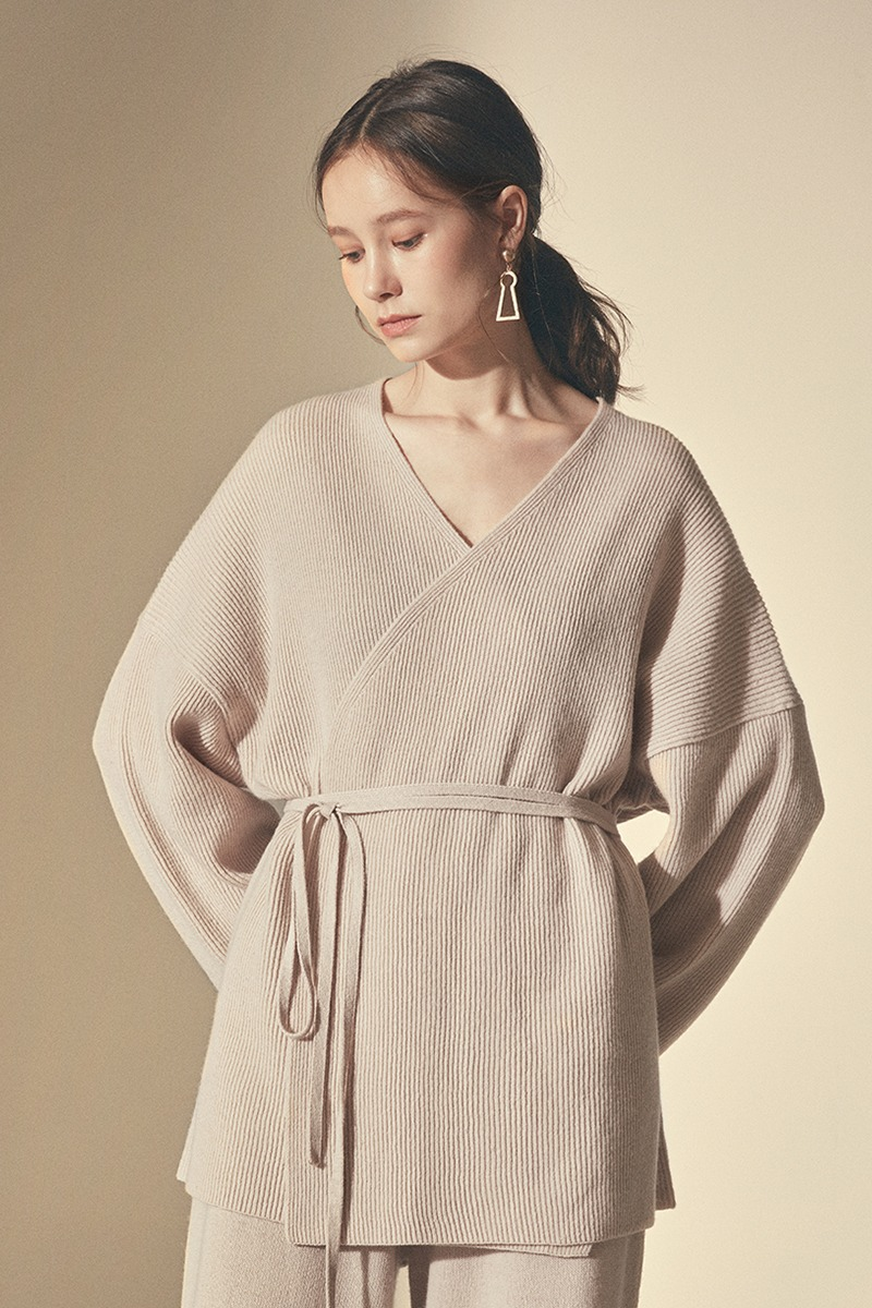 LOUNGE KNIT SHORT ROBE_Beige(woman)