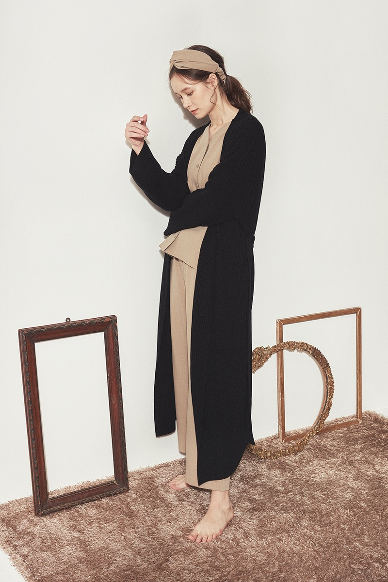 CASHMERE KNIT ROBE COAT_Black(woman)