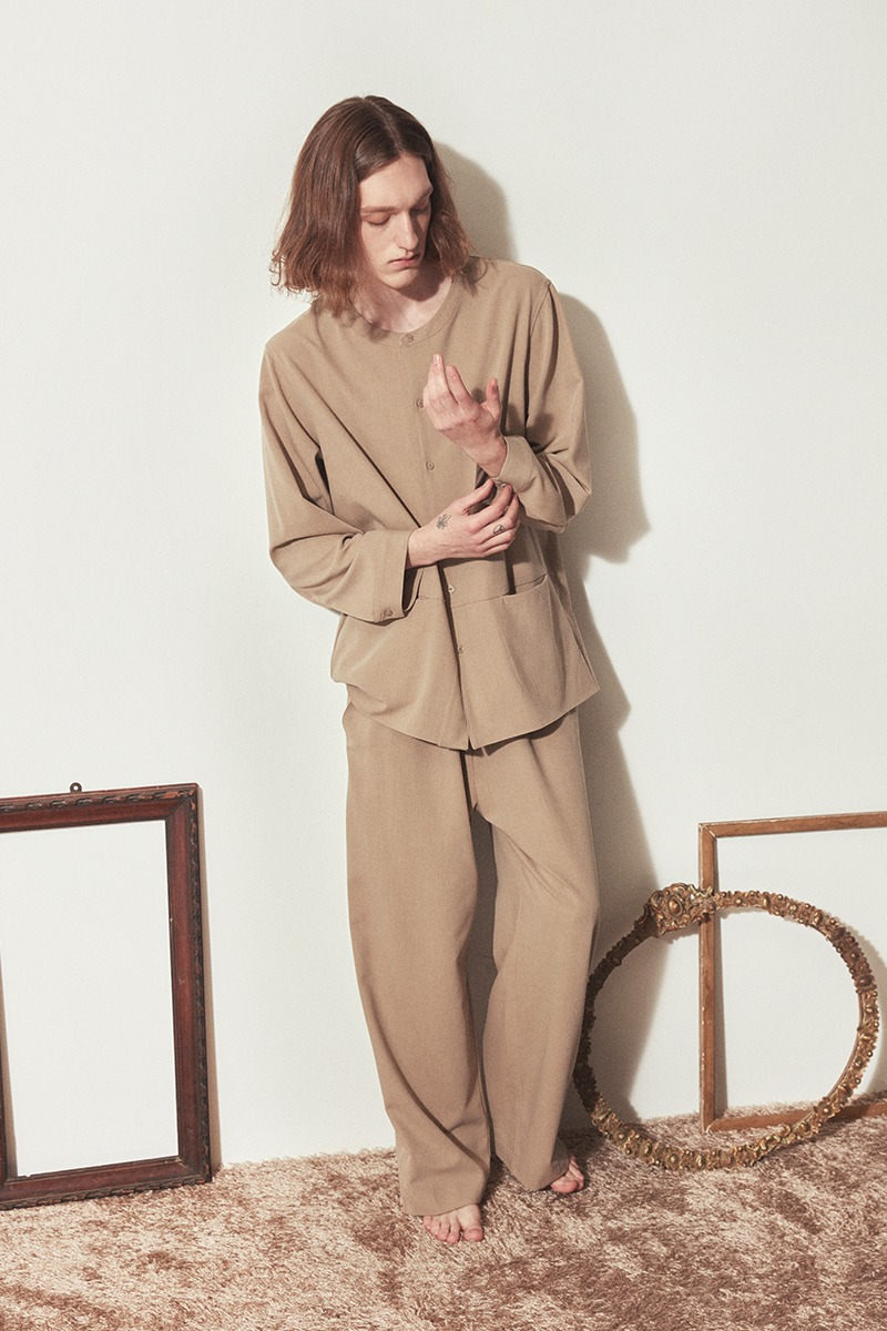 COZY H-NECK PAJAMA SET_Beige