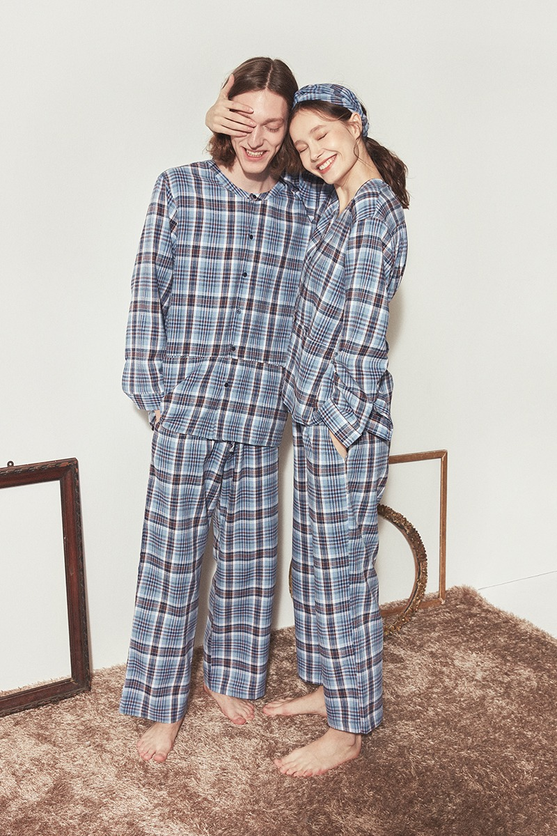 [발렌타인 데이]COZY PAJAMA COUPLE SET_Blue check
