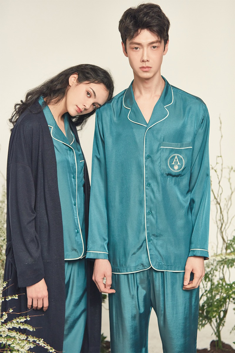 [발렌타인 데이]SILKY PAJAMA COUPLE SET_Green