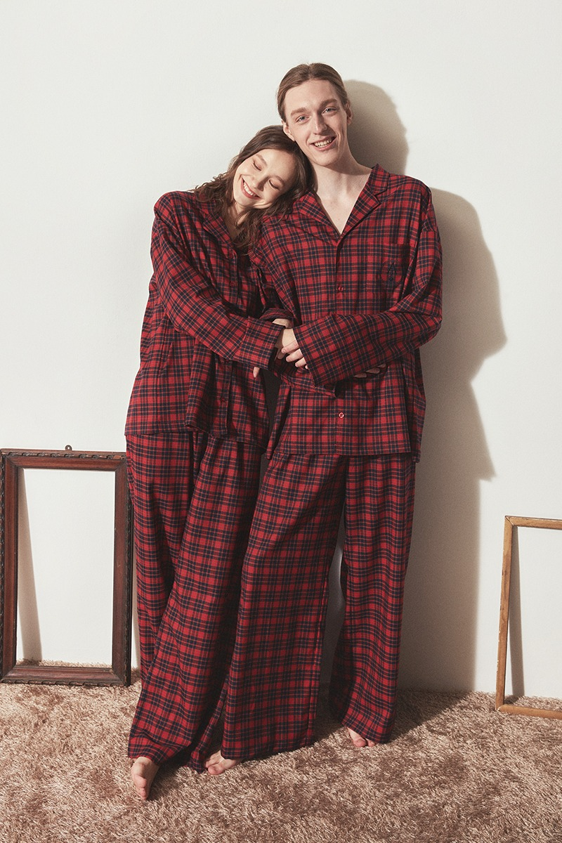 [발렌타인 데이]CLASSIC PAJAMA COUPLE SET_Red check